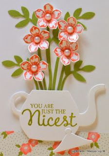 2016 TUTORIAL Teapot of Flowers , Cups & Kettle Framelits Dies 140624 Price: $29.00 , Pretty Petals Designer Series Paper Stack 138442 Price: $8.00 , Birthday Bouquet Designer Series Paper 140557 Price: $11.00 , Bird Builder Punch 117191 Price: $18.00 , Pictogram Punches Clear-Mount Stamp Set 134264 Price: $17.00 , Petite Petals Clear-Mount Bundle 140257 Price: $21.25 , Petite Petals Clear-Mount Bundle 140257 Price: $21.25 , ! SKY IS THE LIMIT clear-mount SS 141349