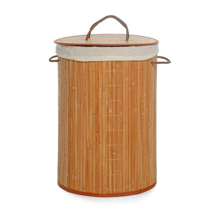 Wäschekorb Bambus hellbraun ca D:35 x H:50 cm