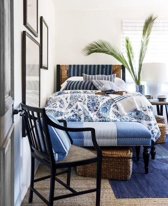 article on decorating with blue and white punctuate with black vary textures and blues use stripes reflect nature - Blue Cafe Decorating