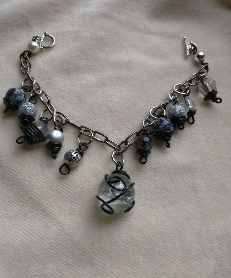 Black Cracked Moon Gun Metal Link Chain Bracelet by SassieDiva on Etsy