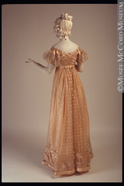 Ephemeral Elegance | Satin and Lace Evening Dress, ca. 1815 via McCord...
