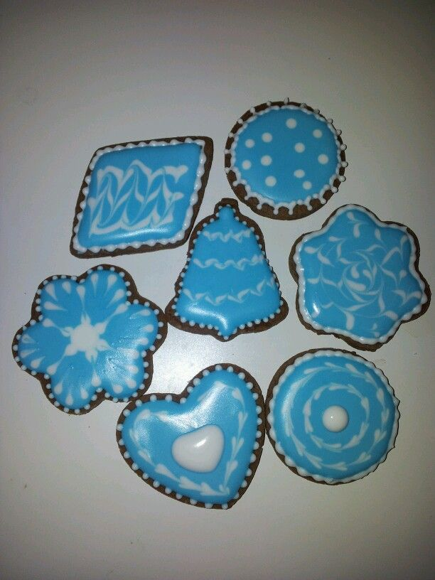 Chocolate cookies and royal icing