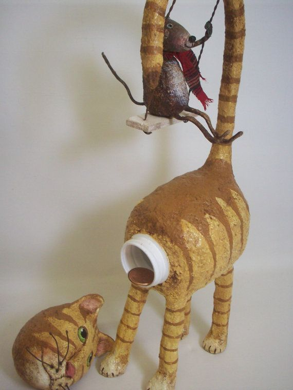 Primitive Paper Mache Folk Art Cat Container with Swinging Mouse