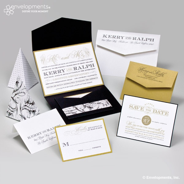 Love the classy black  white and gold color combination of this pocket fold invitation  Envelopments recipe  Kerry   Ralph 14 best Wedding Invitations images on Pinterest   Marriage  . Envelopments Wedding Invitations. Home Design Ideas