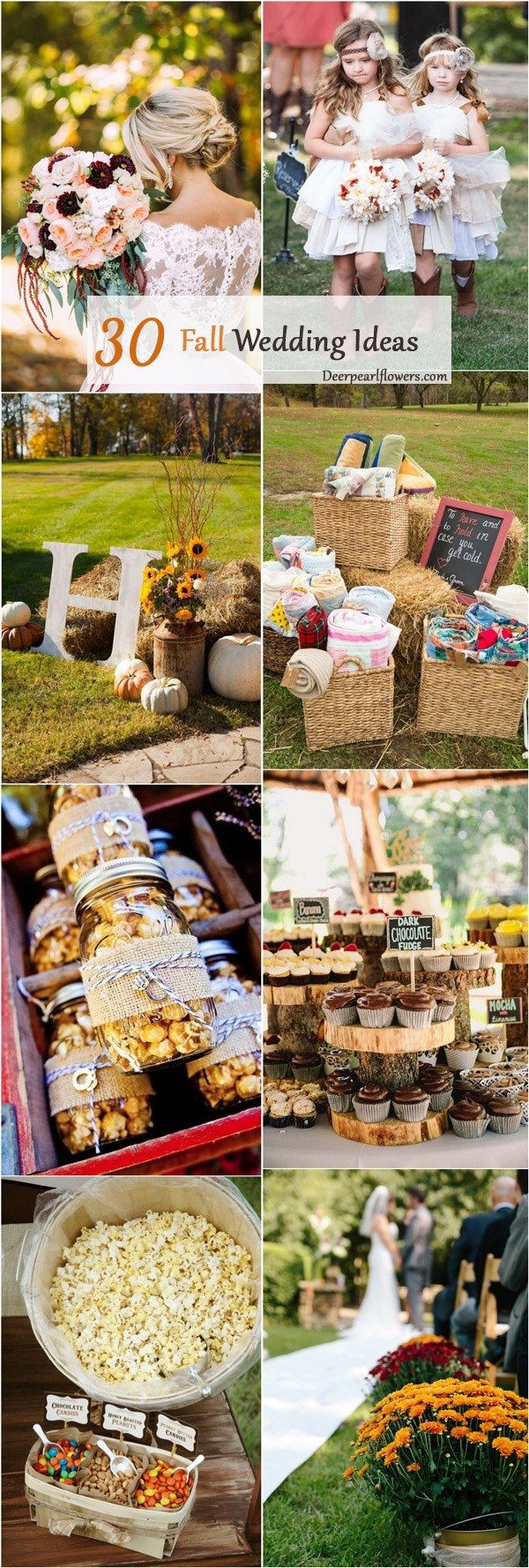 outdoor fall wedding ideas and themes / http://www.deerpearlflowers.com/autumn-fall-wedding-ideas/