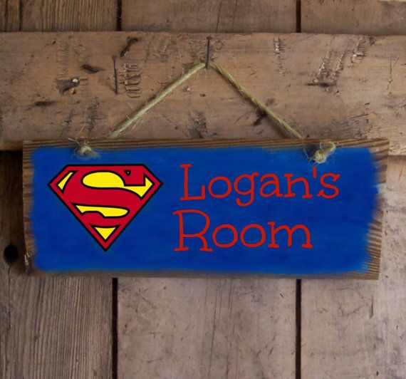superman reclaimed hand painted sign boys marvel comics superhero custom blue tones personalized room bedroom wall plaque decor