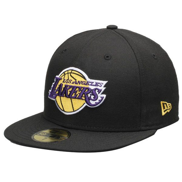 Mens Los Angeles Lakers Black Team Logo 59FIFTY Fitted Hat, Your Price: $34.99