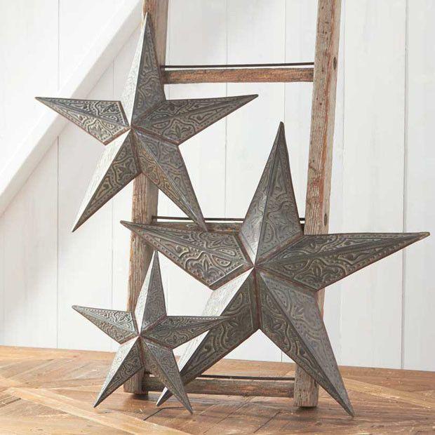 Rustic Tin Star Wall Decor, Set of 12  Metal stars decor, Stars
