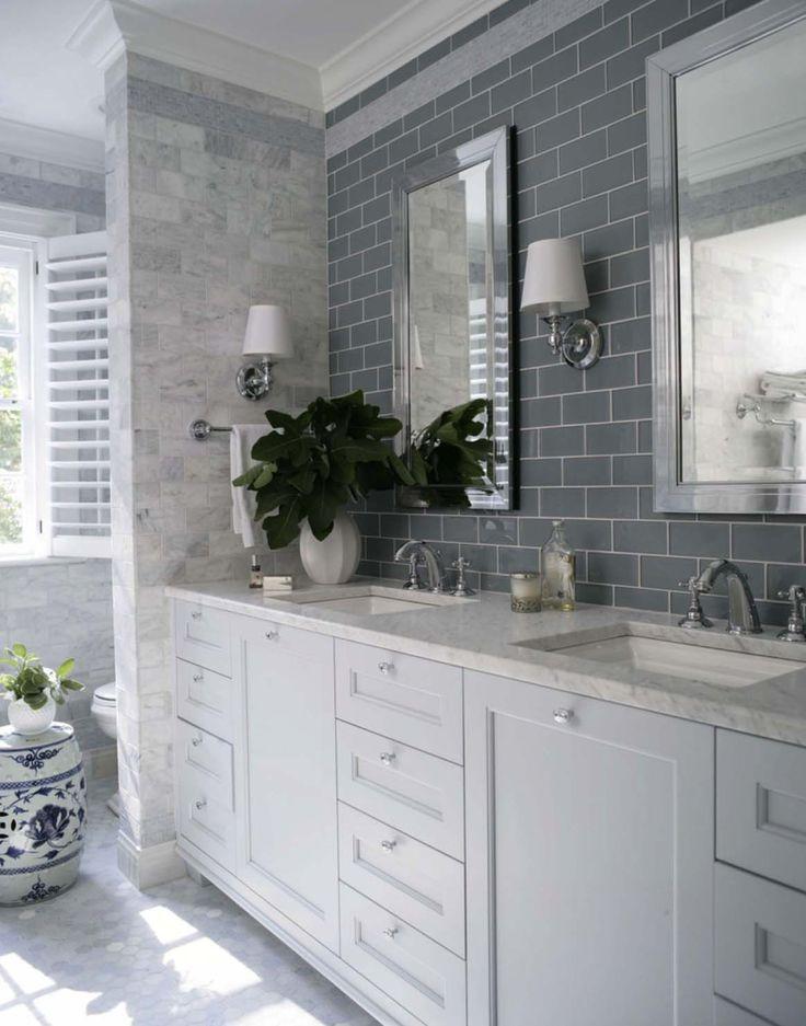 This is beautiful, just not gray.  And, split sinks/vanities