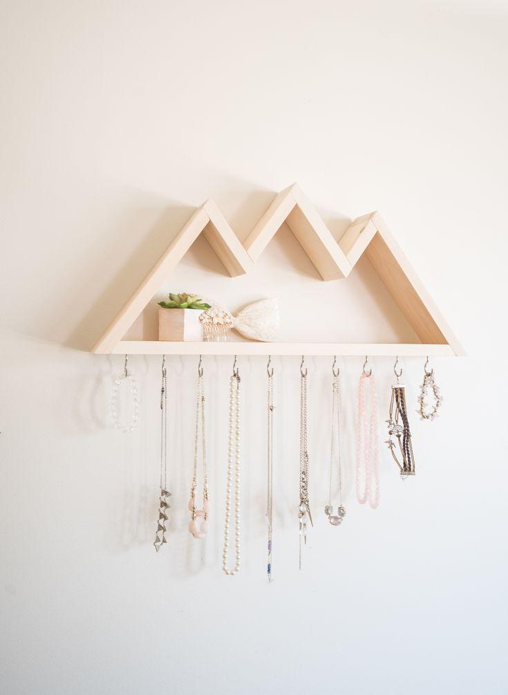10 Hooks Mountain Shelf Necklace Holder, Keyrack, Geometric Wall Art, Entryway Organizer