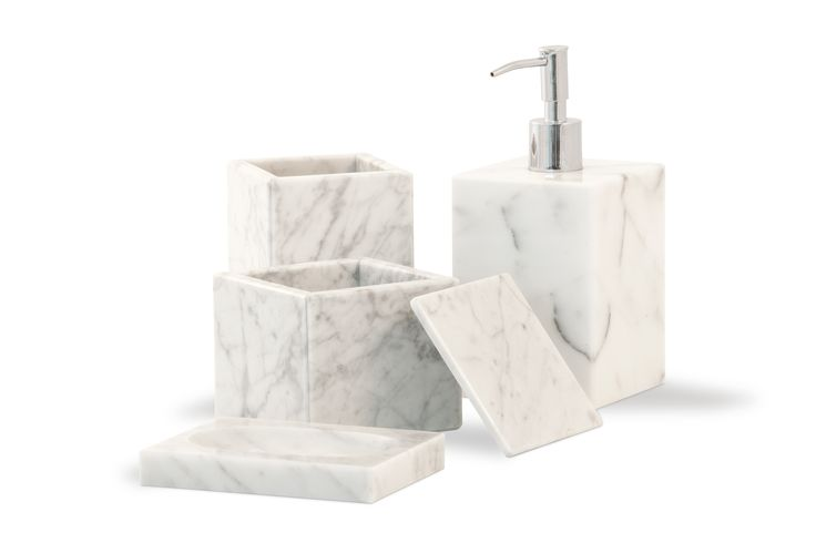 White Carrara Marble Bathroom Set Soap Dispenser Dish Toothbrush Holder Fiammetta V Marbe Accessories By Pinterest