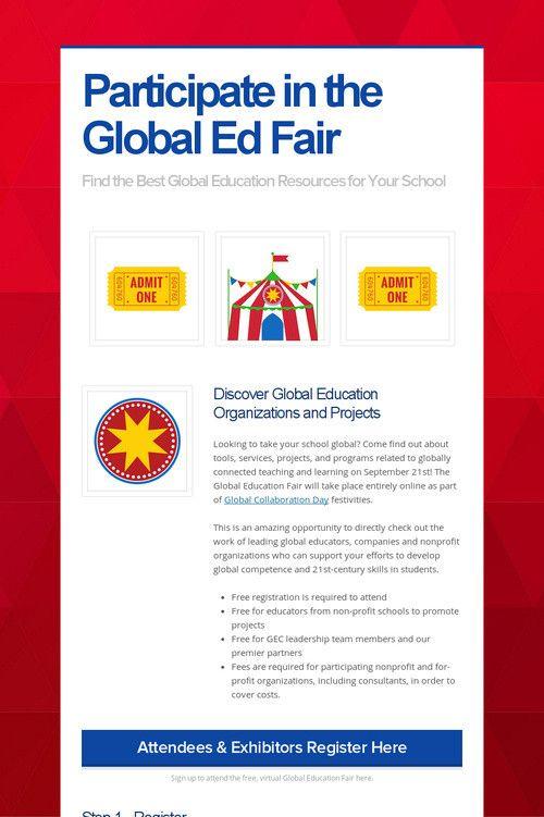 Participate in the Global Ed Fair
