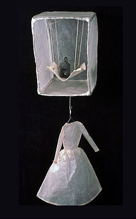 SERENA BUSCHI ~ Matriarch (2001) Wire, glassine, canvas, thread, weight 15 x 6 x 6 in. Installation: Houses