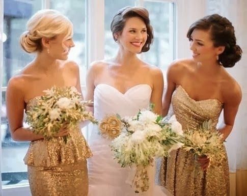 White and Gold Wedding. Gold Bridesmaid Dress. Elegant and Glamorous. Golden Wedding