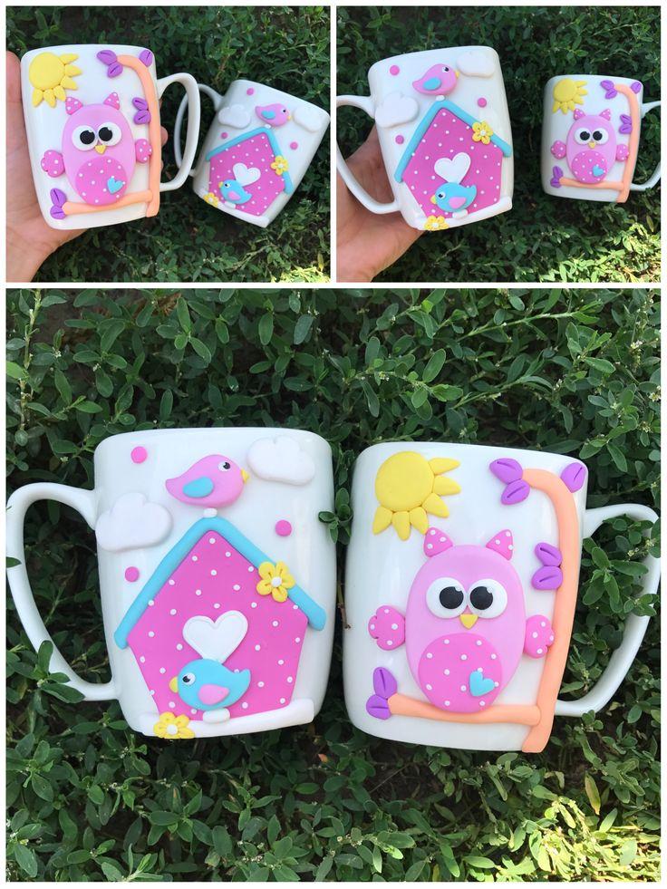 Polymer clay pink handmade homemade mug owl house birds love happy