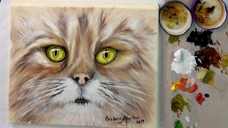 Como Pintar Un Gato Con La Técnica Del Boligrafo Y Oleo Youtube Pintura De Gato Pintar Como Pintar