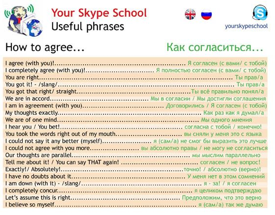 #useful #phrases english-russian : how to #agree in English, #agreements, your skype school material