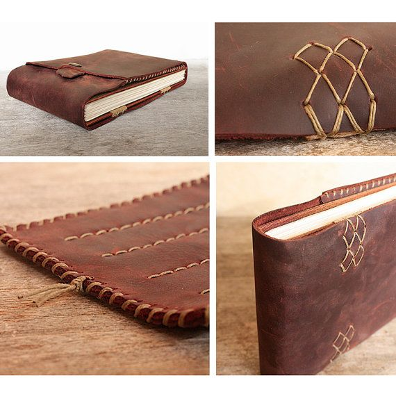 Leather Artist Journal. Watercolor paper in a Coptic stitch hardcover book. Refillable Art Book and Pencil by odelae