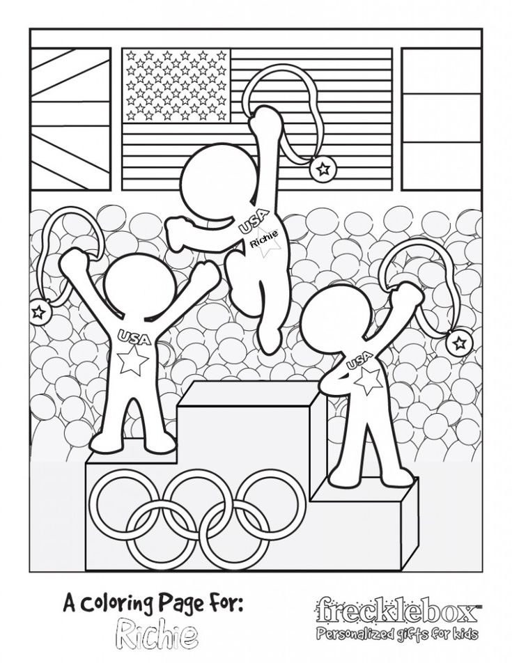 FREE Personalized Olympic Coloring Sheet - personalize with your child's name! - só trocar o USA para blank and they can put their own country @Claryssa Tomaz