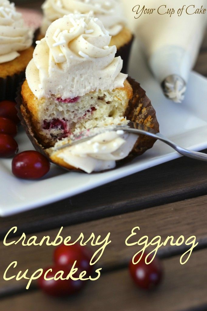 Cranberry Eggnog Cupcakes... looks like Christmas! Recipe at........ http://www.yourcupofcake.com/2012/12/cranberry-eggnog-cupcakes.html