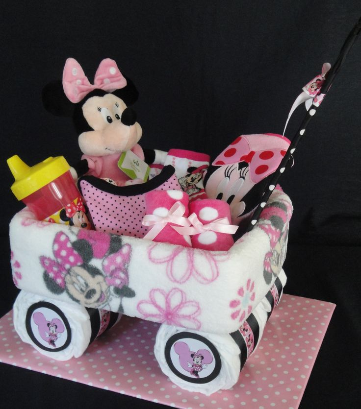 Small Minnie Mouse themed wagon www.facebook.com/DiaperCakesbyDiana