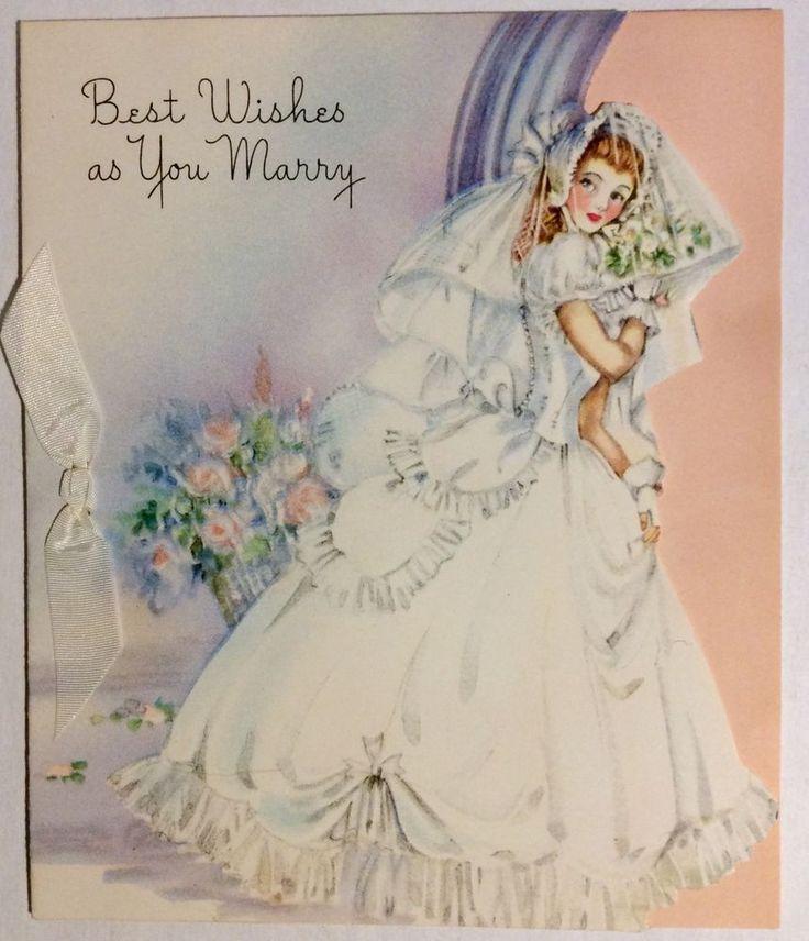 Beautiful Bride Gorgeous Wedding Dress1940s Vintage Greeting Card