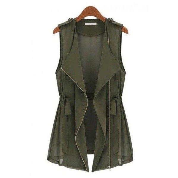 Army Green Drawstring Zipper V-neck Sleeveless Chiffon Vest ❤ liked on Polyvore featuring outerwear, vests, jackets, tops, zipper vest, v neck vest, chiffon vest, zip vest and olive green vest