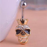 Gran marca esmalte cuerpo esqueleto cráneo de la joyería piercing ombligo ombligo anillo accesorios Pircing hombre joyas Steampunk