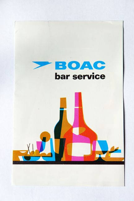 Illustration for BOAC aircraft bar service, circa 1960s. B.Y.O. colorful design, but leave your Mad Men-style alcoholism way, way behind. :s
