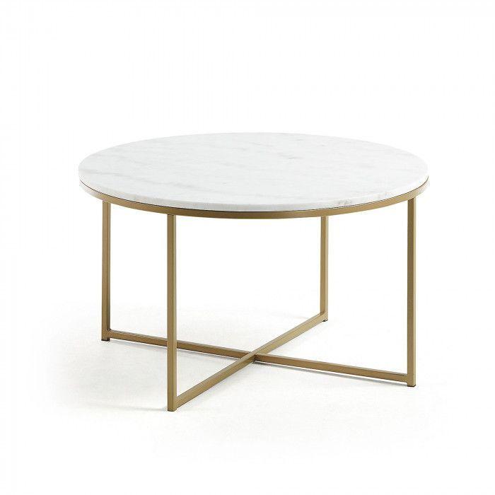 Table Basse Ronde Sheffield O80 Cm Marbre Blanc Et Pieds Metal
