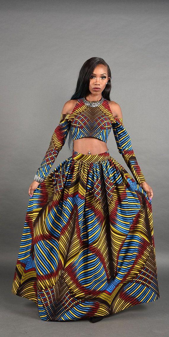 3D Bold African print Maxi skirt. by RAHYMA on Etsy ~African fashion, Ankara, kitenge, African women dresses, African prints, African men's fashion, Nigerian style, Ghanaian fashion ~DKK