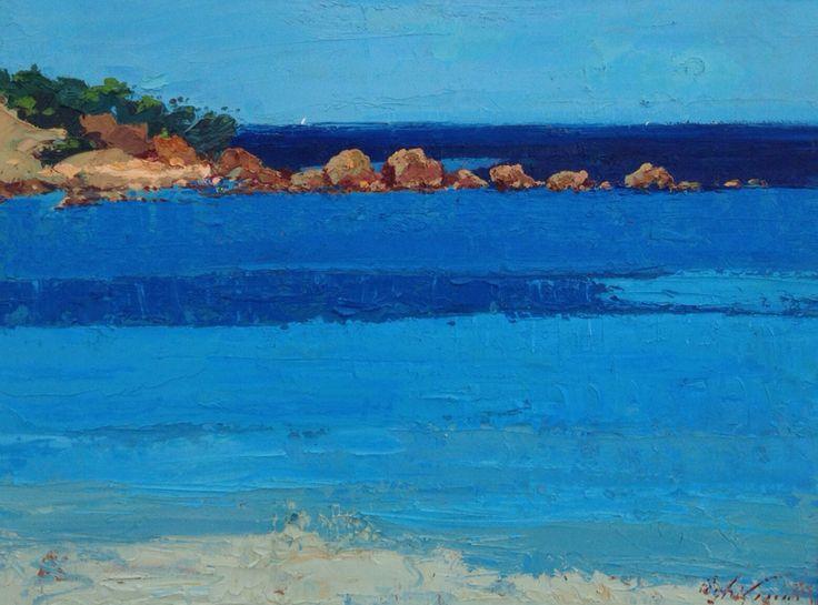 Italian original painting abstract beach Sardinia sea seascape modern art oil on canvas 60x80 cm Sardegna Italy italia
