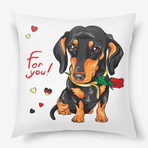Подушка «Собака такса с розой в зубах»