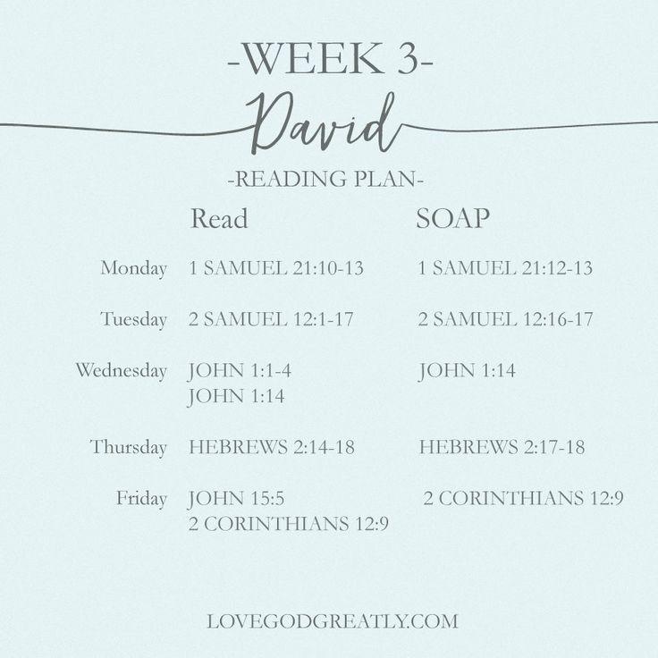 {Week 3 - Reading Plan} #David Bible Study @ LoveGodGreatly.com