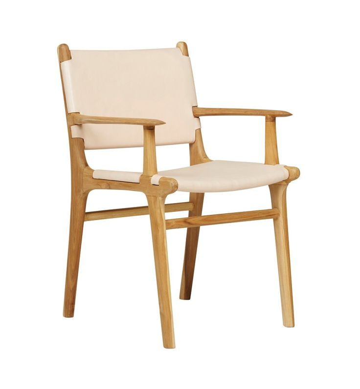 Flat Leather Dining Chair With Arms - Teak & Natural