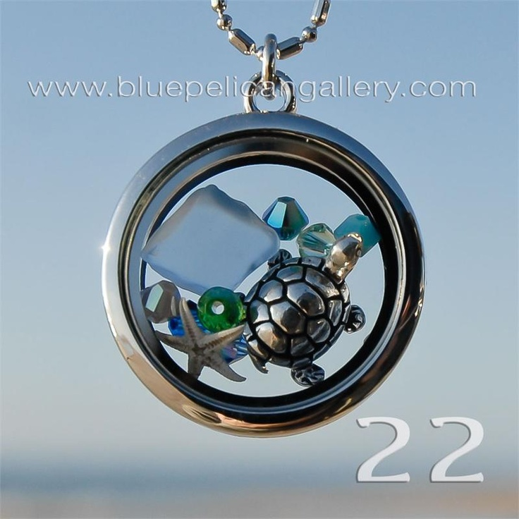 $24 - Seaside Memory locket necklace with Swarovski Crystals, pewter turtle bead and starfish, available at Blue Pelican Gallery in Hatteras, NC