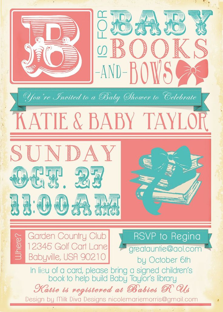 Baby shower invitation books bows party ideas