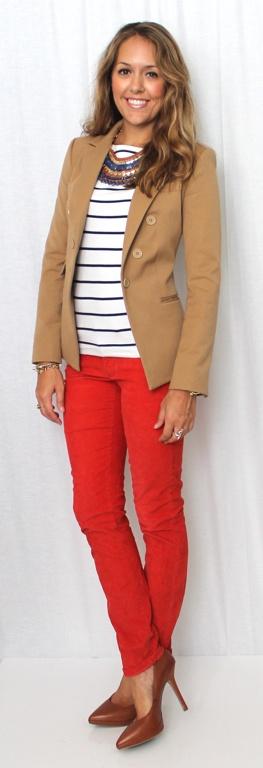 Khaki blazer, stripes, Stella & dot Indira necklace and red pants