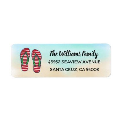 Tropical Beach Hawaiian Christmas Red Flip Flops Label - return address labels label diy personalize cyo unique design custom