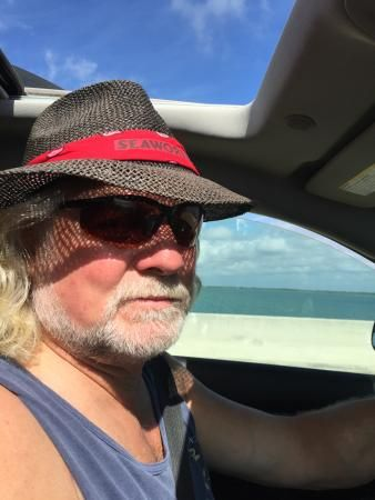 My very cool dude with his Seaworld Hat, The Overseas Highway, Florida Keys,