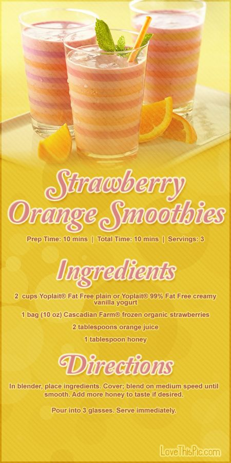 Strawberry Orange Smoothies Recipe Pictures, Photos, and Images for Facebook, Tumblr, Pinterest, and Twitter