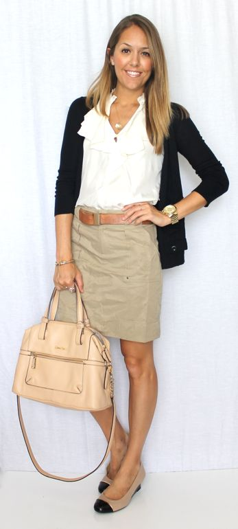 duplicate this outfit using long black sweater, white button down, khaki pencil skirt