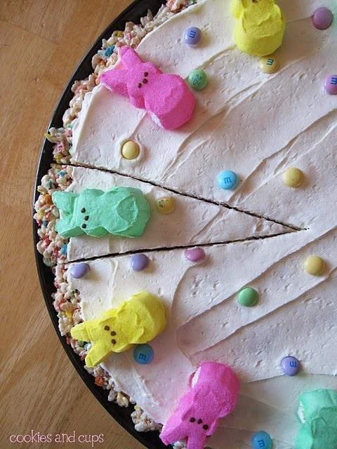 Easter Pizza - Rice Krispy Treat #Food #Peeps