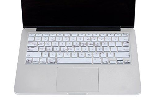 """Mosiso - Keyboard Cover Silicone Skin for MacBook Air 13"""" and MacBook Pro 13"""" 15"""" 17"""" (with or w/out Retina Display) iMac -White Marble Pattern"""