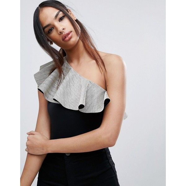ASOS Body With One Shoulder In Ruffle Metallic (£18) ❤ liked on Polyvore featuring dresses, black, bodycon prom dresses, body con dresses, one shoulder ruffle dress, one shoulder prom dresses and metallic bodycon dress