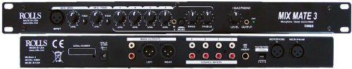 Rolls RM69 Mix Mate 3 - Six Channel Stereo Mic/Line Mixer by Rolls. $149.00. The RM69 Mix Mate 3 mixes two microphones with up to four stereo source signals such as CD players, karaoke machines, MP3 Players etc. The unit is ideal for installs such as bars, restaurants or night clubs where space is a consideration, without compromising audio quality. The unit is housed in a compact yet sturdy steel 1U rack chassis. A convenient front-panel 3.5mm jack has been in...