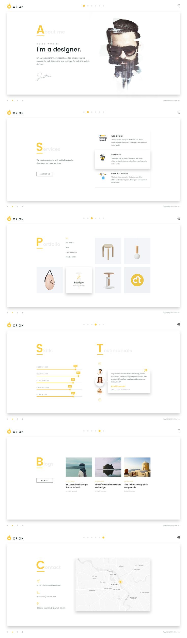 1. Introduction   	Orion Creative Multi-Purpose PSD is a clean and trendy PSD Template designed with Grid-Based Approach. Can be used for a lot of type of websites, like modern corporative pa...