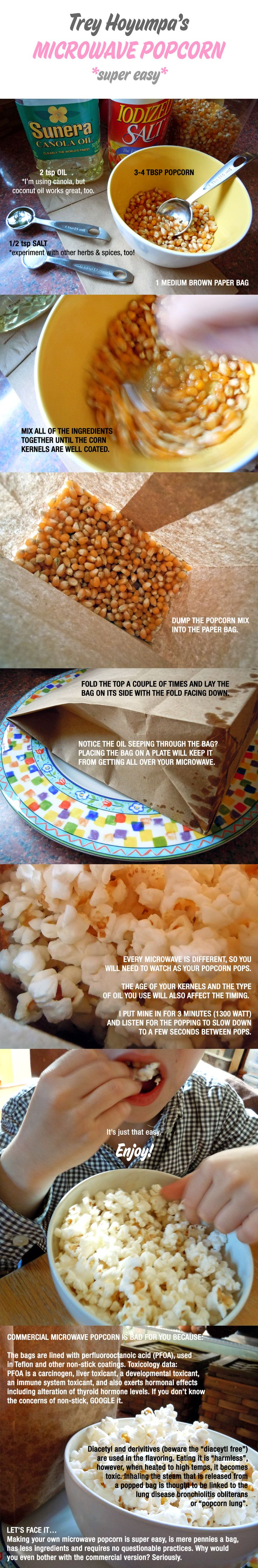 Homemade microwave popcorn. Gonna have to try this!