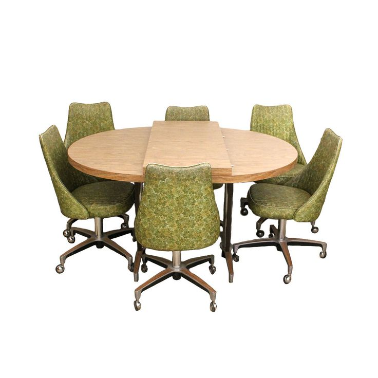 Mid Century Modern Chromcraft Green Vinyl Chrome Dining Set 6 Chairs + Table  | Mid Century