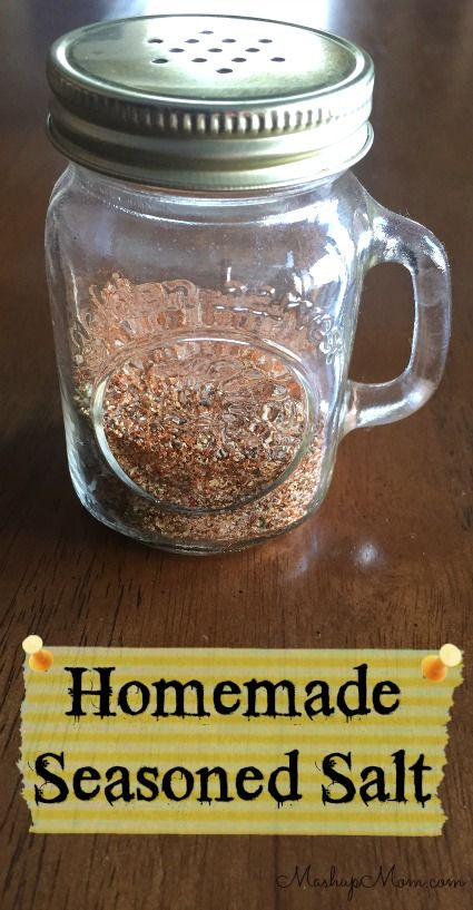 Homemade Seasoned Salt -- Can't get much easier than this, with no added sugar or cornstarch like many store brands! So tasty. http://www.mashupmom.com/homemade-seasoned-salt/
